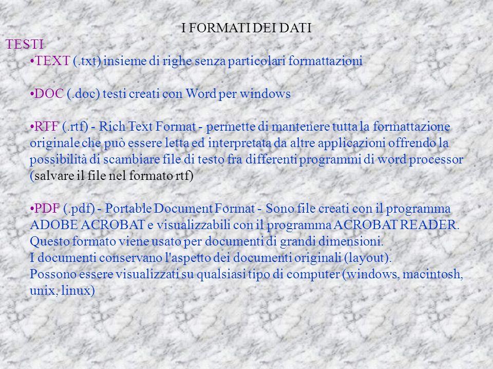 I FORMATI DEI DATI TESTI TEXT (.txt) insieme di righe senza particolari formattazioni DOC (.doc) testi creati con Word per windows RTF (.rtf) - Rich Text Format - permette di mantenere tutta la formattazione originale che può essere letta ed interpretata da altre applicazioni offrendo la possibilità di scambiare file di testo fra differenti programmi di word processor (salvare il file nel formato rtf) PDF (.pdf) - Portable Document Format - Sono file creati con il programma ADOBE ACROBAT e visualizzabili con il programma ACROBAT READER.