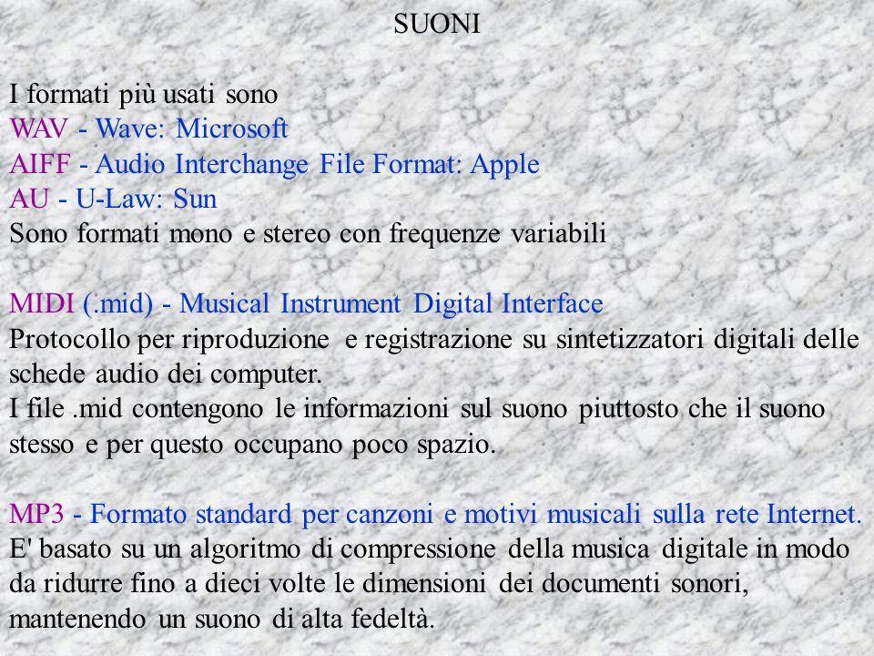 SUONI I formati più usati sono WAV - Wave: Microsoft AIFF - Audio Interchange File Format: Apple AU - U-Law: Sun Sono formati mono e stereo con frequenze variabili MIDI (.mid) - Musical Instrument Digital Interface Protocollo per riproduzione e registrazione su sintetizzatori digitali delle schede audio dei computer.