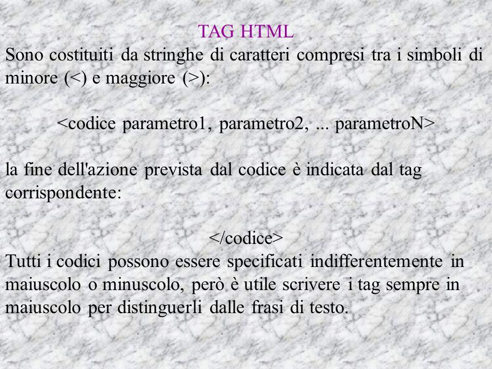 TAG HTML Sono costituiti da stringhe di caratteri compresi tra i simboli di minore ( ): la fine dell azione prevista dal codice è indicata dal tag corrispondente: Tutti i codici possono essere specificati indifferentemente in maiuscolo o minuscolo, però è utile scrivere i tag sempre in maiuscolo per distinguerli dalle frasi di testo.