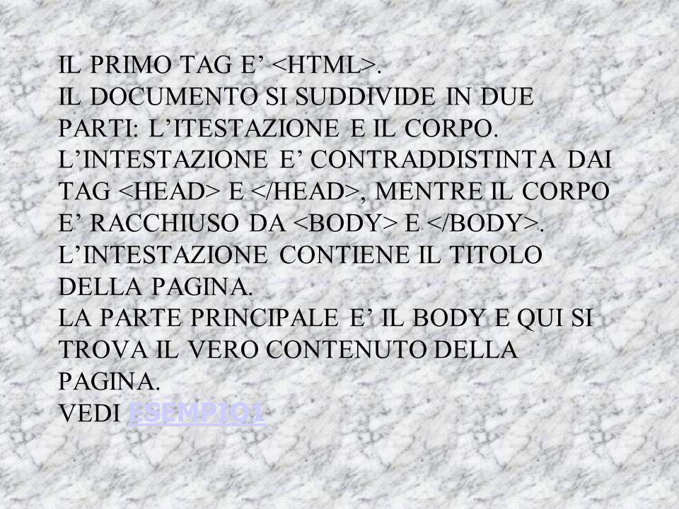 TAG HTML Sono costituiti da stringhe di caratteri compresi tra i simboli di minore ( ): la fine dell'azione prevista dal codice è indicata dal tag cor