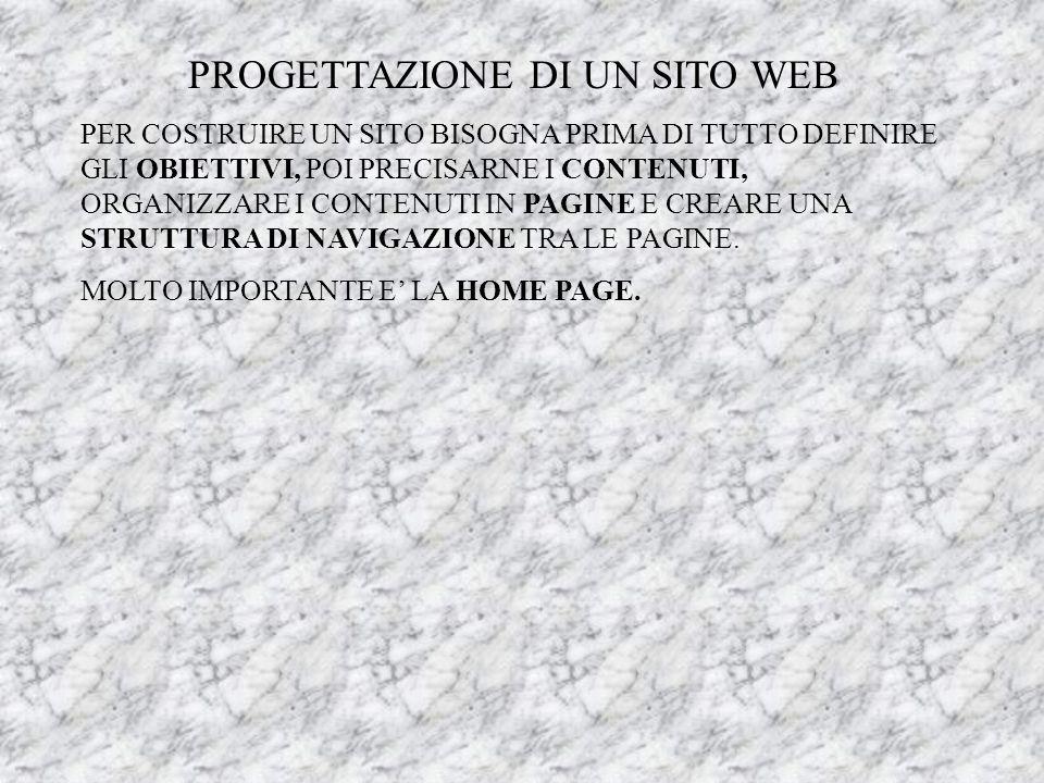 PROGETTAZIONE DI UN SITO WEB PER COSTRUIRE UN SITO BISOGNA PRIMA DI TUTTO DEFINIRE GLI OBIETTIVI, POI PRECISARNE I CONTENUTI, ORGANIZZARE I CONTENUTI IN PAGINE E CREARE UNA STRUTTURA DI NAVIGAZIONE TRA LE PAGINE.