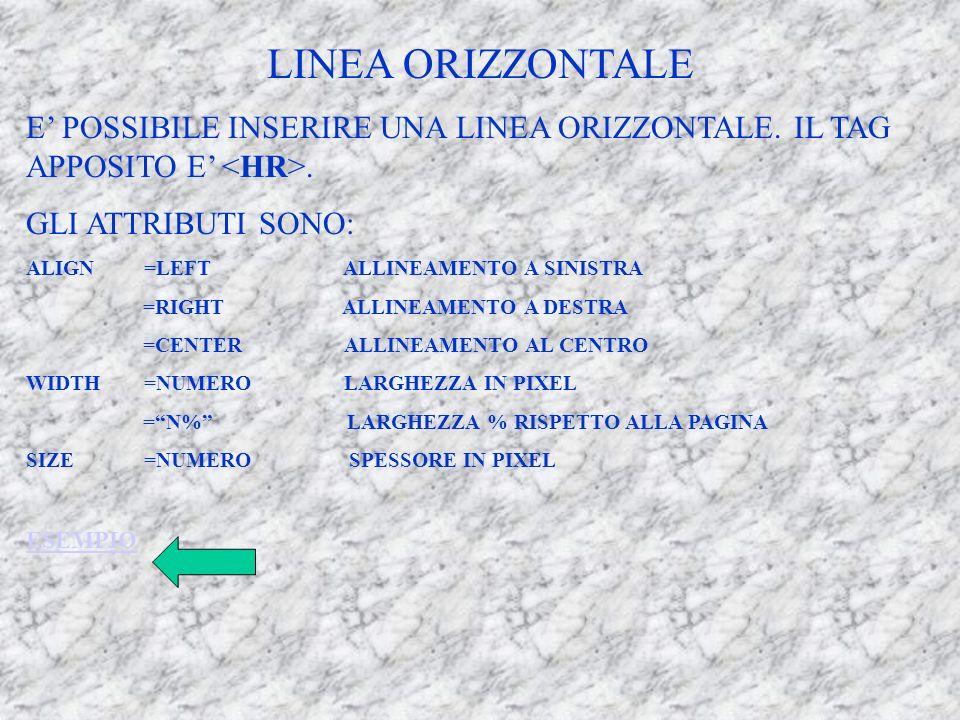 LINEA ORIZZONTALE E POSSIBILE INSERIRE UNA LINEA ORIZZONTALE.