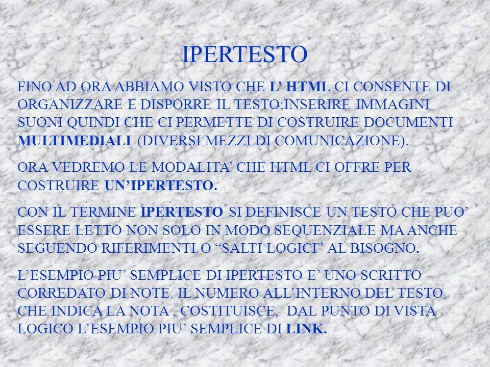 IPERTESTO FINO AD ORA ABBIAMO VISTO CHE L HTML CI CONSENTE DI ORGANIZZARE E DISPORRE IL TESTO;INSERIRE IMMAGINI SUONI QUINDI CHE CI PERMETTE DI COSTRUIRE DOCUMENTI MULTIMEDIALI (DIVERSI MEZZI DI COMUNICAZIONE).