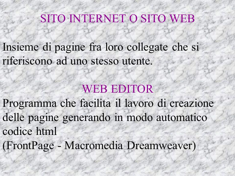 SITO INTERNET O SITO WEB Insieme di pagine fra loro collegate che si riferiscono ad uno stesso utente.