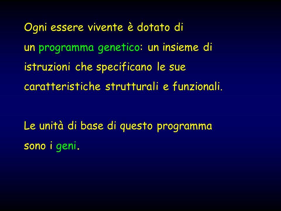 Ogni essere vivente è dotato di un programma genetico: un insieme di istruzioni che specificano le sue caratteristiche strutturali e funzionali. Le un