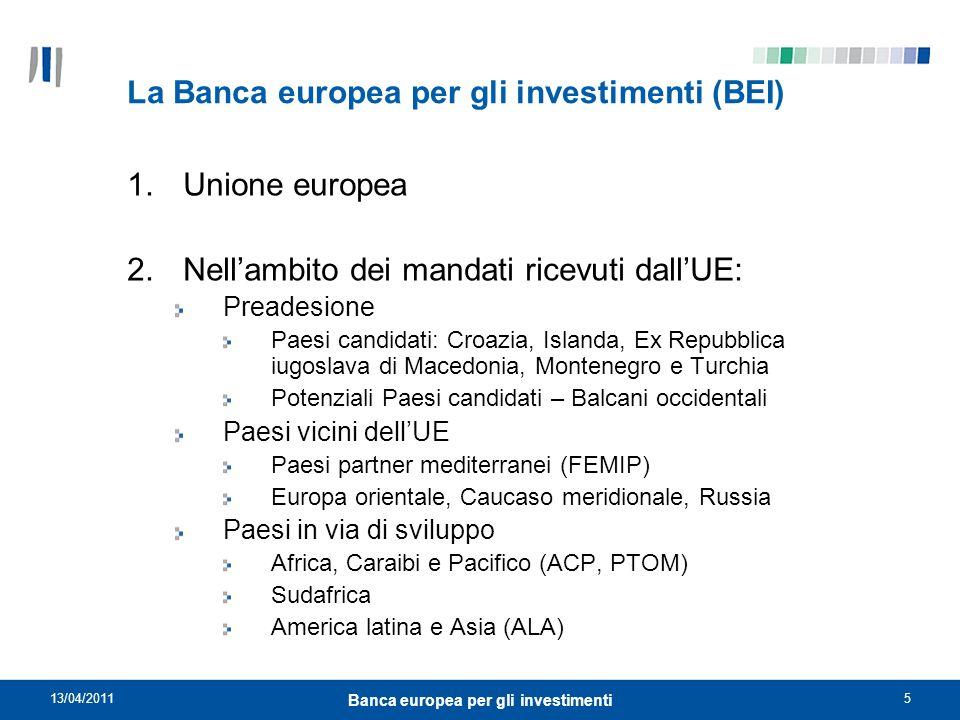 13/04/20116 Banca europea per gli investimenti La Banca europea per gli investimenti (BEI) 2010 Cifre principali Prestiti Unione europea: EUR63,0 miliardi di cui Italia EUR 8,8 miliardi Paesi partner:EUR 8,8 miliardi Totale dei prestiti:EUR71,8 miliardi RaccoltaEUR 67,0 miliardi Capitale sottoscrittoEUR 232,4 miliardi (all1.4.2009)
