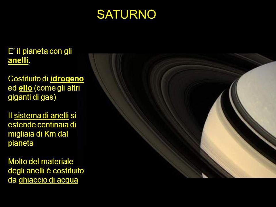 SATURNO E il pianeta con gli anelli. Costituito di idrogeno ed elio (come gli altri giganti di gas) Il sistema di anelli si estende centinaia di migli