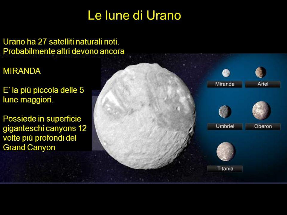 Le lune di Urano Urano ha 27 satelliti naturali noti. Probabilmente altri devono ancora essere scoperti. MIRANDA E la più piccola delle 5 lune maggior