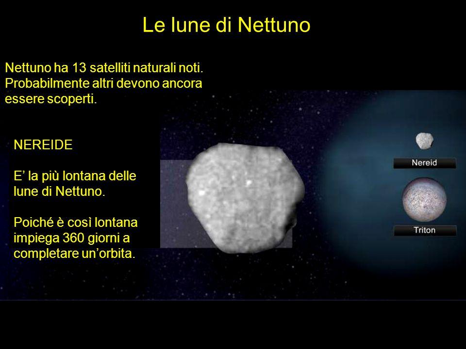 Le lune di Nettuno Nettuno ha 13 satelliti naturali noti. Probabilmente altri devono ancora essere scoperti. NEREIDE E la più lontana delle lune di Ne