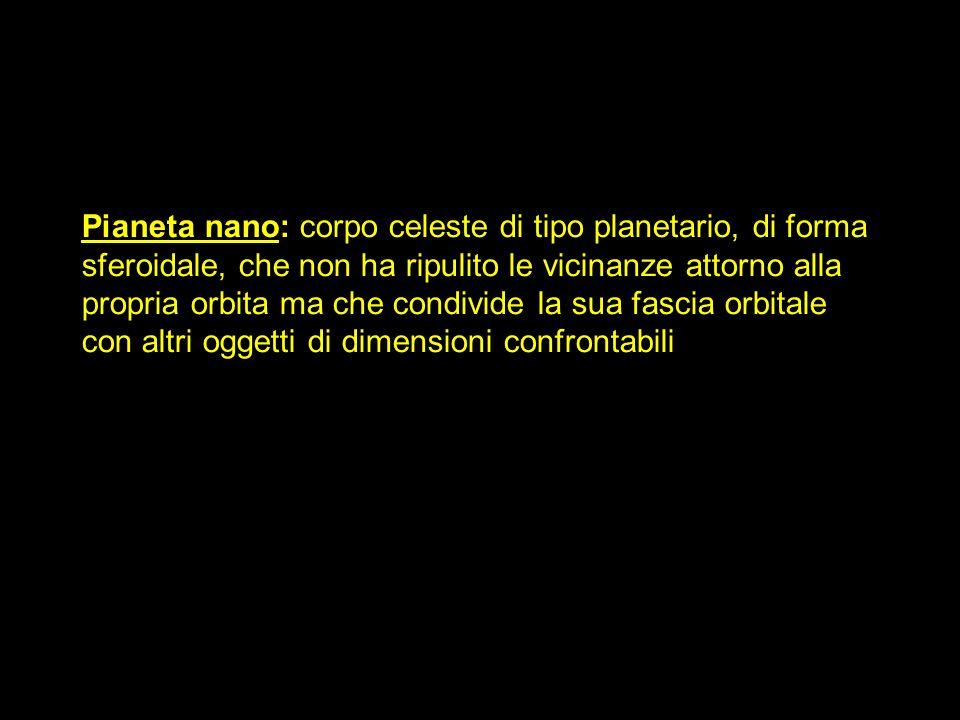Pianeta nano: corpo celeste di tipo planetario, di forma sferoidale, che non ha ripulito le vicinanze attorno alla propria orbita ma che condivide la