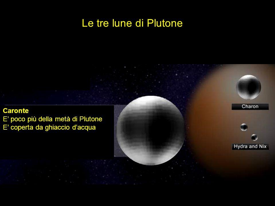 Le tre lune di Plutone Caronte E poco più della metà di Plutone E coperta da ghiaccio dacqua
