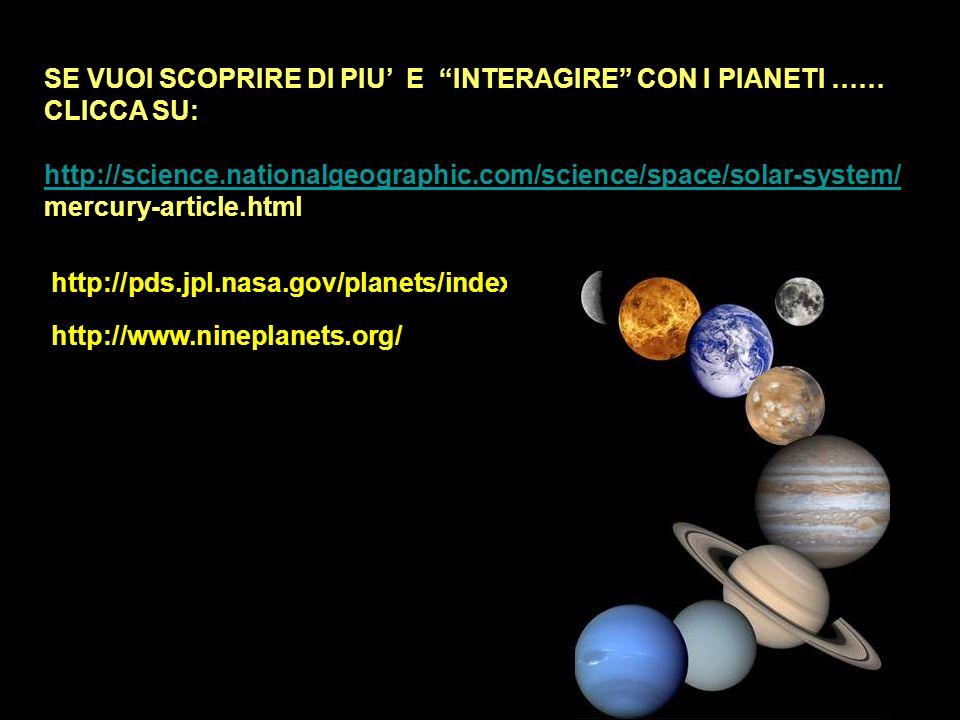 SE VUOI SCOPRIRE DI PIU E INTERAGIRE CON I PIANETI …… CLICCA SU: http://science.nationalgeographic.com/science/space/solar-system/ mercury-article.htm