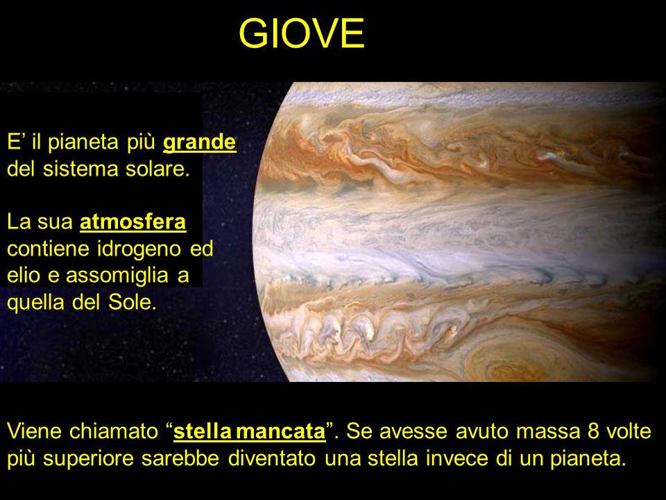 GIOVE E il pianeta più grande del sistema solare. La sua atmosfera contiene idrogeno ed elio e assomiglia a quella del Sole. Viene chiamato stella man