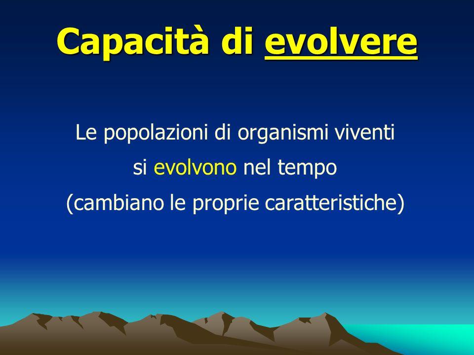 Capacità di evolvere Le popolazioni di organismi viventi si evolvono nel tempo (cambiano le proprie caratteristiche)