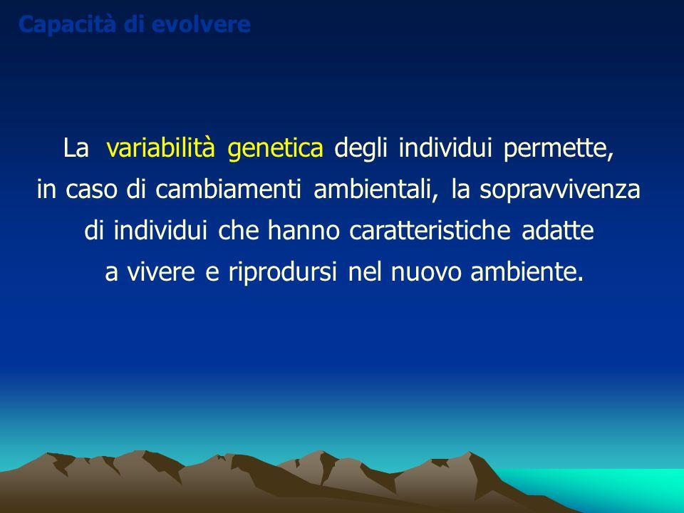 La variabilità genetica degli individui permette, in caso di cambiamenti ambientali, la sopravvivenza di individui che hanno caratteristiche adatte a