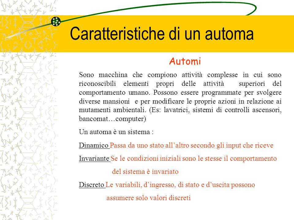 Caratteristiche di un automa Sono macchina che compiono attività complesse in cui sono riconoscibili elementi propri delle attività superiori del comp