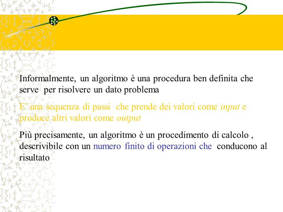 Informalmente, un algoritmo è una procedura ben definita che serve per risolvere un dato problema E una sequenza di passi che prende dei valori come i