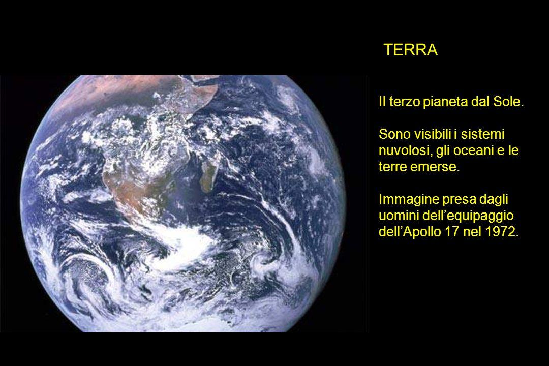TERRA Il terzo pianeta dal Sole. Sono visibili i sistemi nuvolosi, gli oceani e le terre emerse. Immagine presa dagli uomini dellequipaggio dellApollo