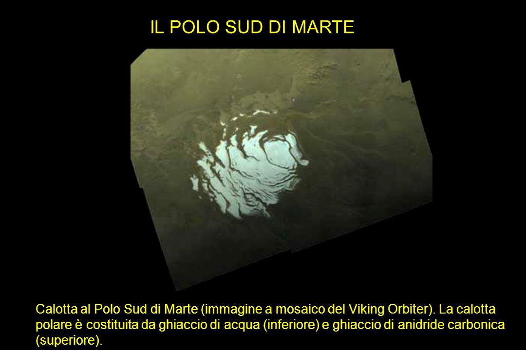 IL POLO SUD DI MARTE Calotta al Polo Sud di Marte (immagine a mosaico del Viking Orbiter). La calotta polare è costituita da ghiaccio di acqua (inferi