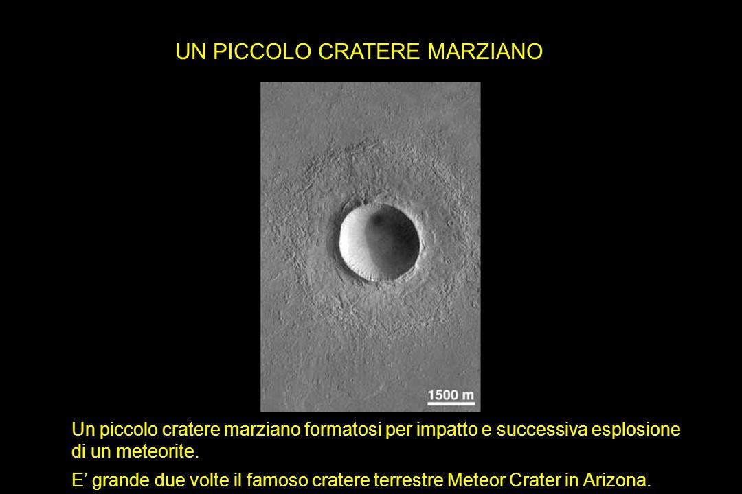 UN PICCOLO CRATERE MARZIANO Un piccolo cratere marziano formatosi per impatto e successiva esplosione di un meteorite. E grande due volte il famoso cr