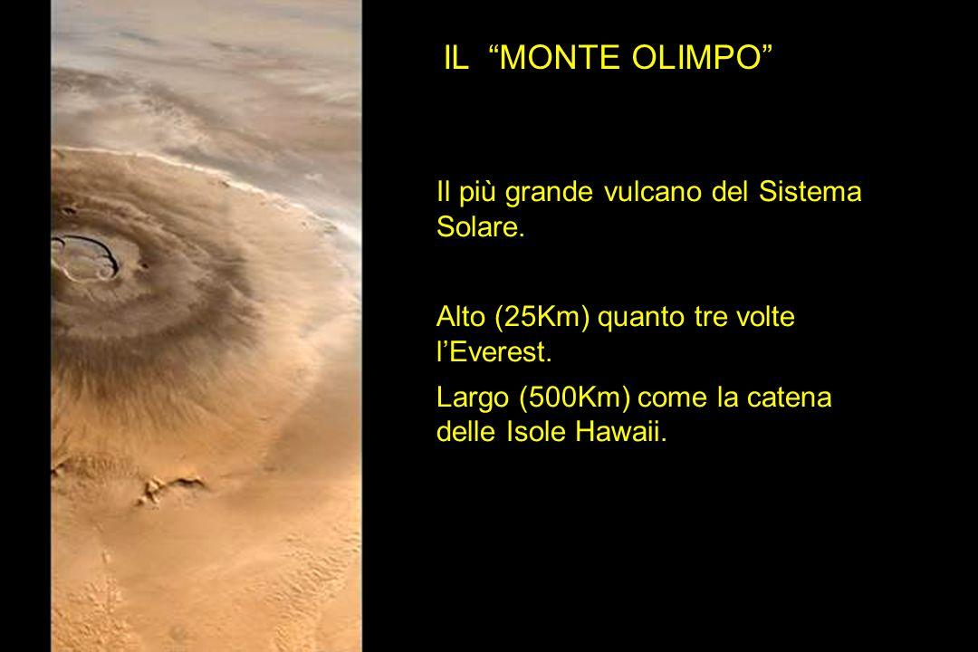 Il più grande vulcano del Sistema Solare. Alto (25Km) quanto tre volte lEverest. Largo (500Km) come la catena delle Isole Hawaii. IL MONTE OLIMPO