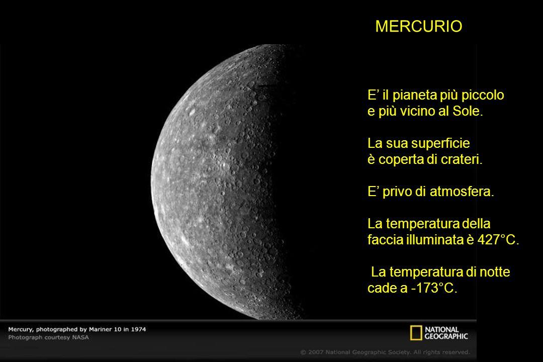 MERCURIO E il pianeta più piccolo e più vicino al Sole. La sua superficie è coperta di crateri. E privo di atmosfera. La temperatura della faccia illu