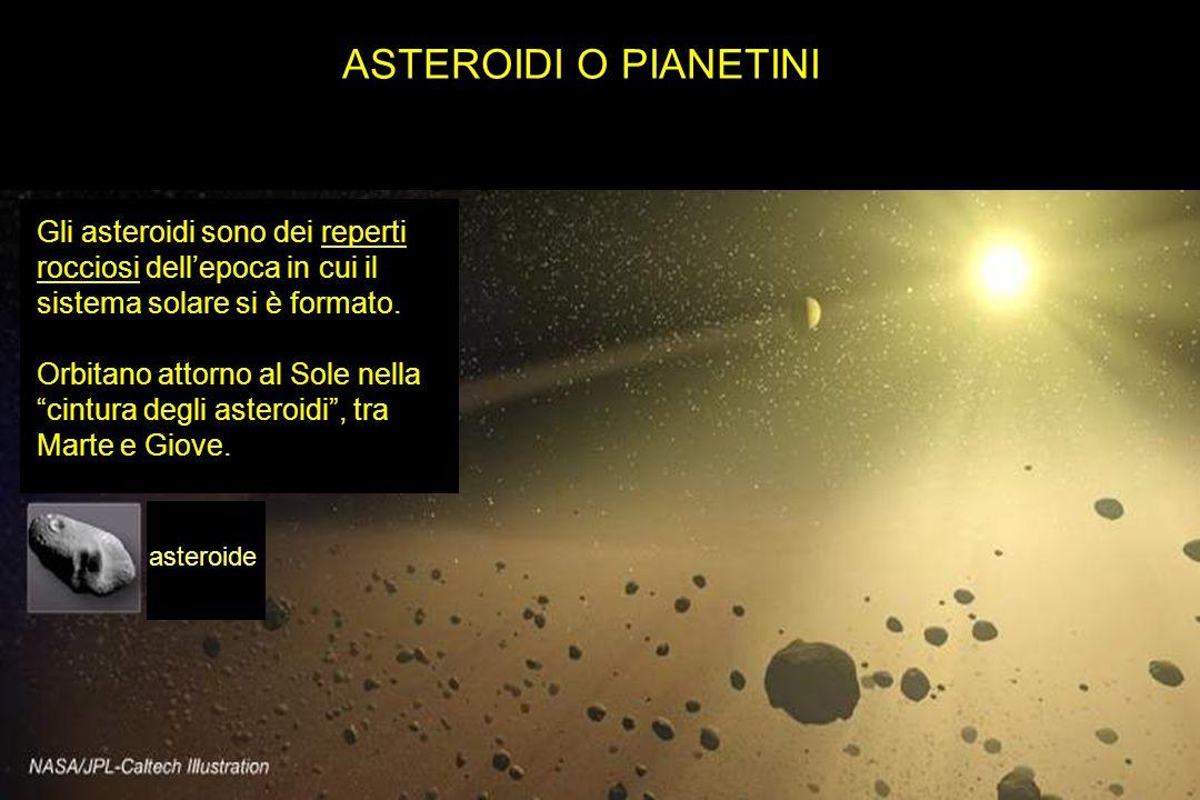 ASTEROIDI O PIANETINI Gli asteroidi sono dei reperti rocciosi dellepoca in cui il sistema solare si è formato. Orbitano attorno al Sole nella cintura
