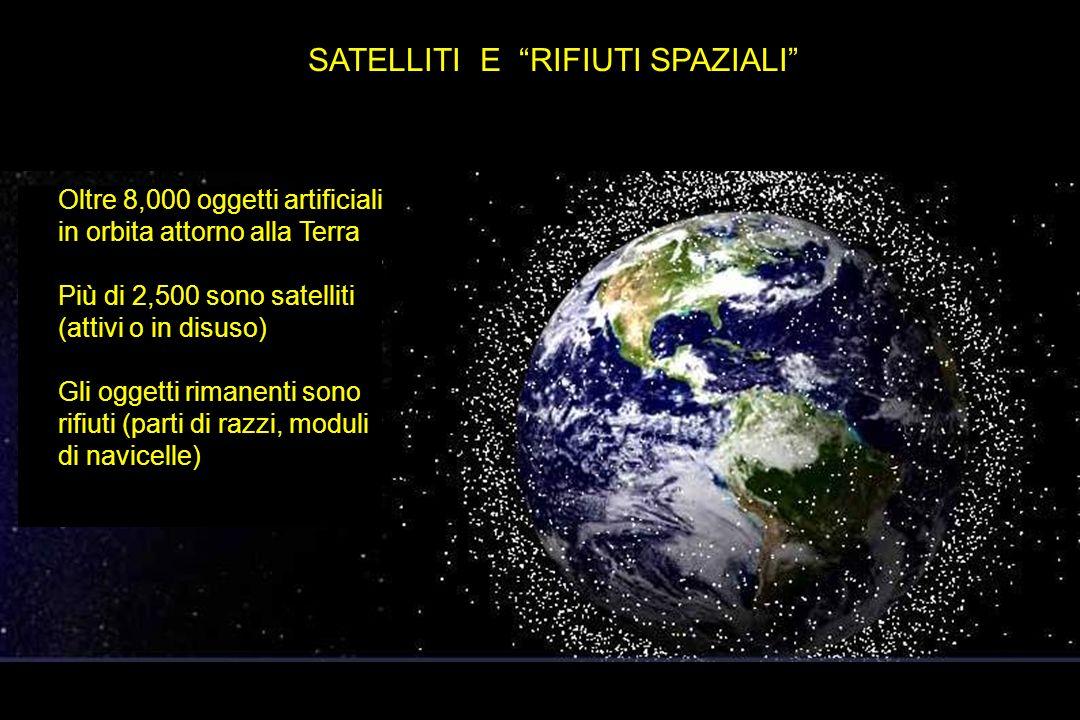 SATELLITI E RIFIUTI SPAZIALI Oltre 8,000 oggetti artificiali in orbita attorno alla Terra Più di 2,500 sono satelliti (attivi o in disuso) Gli oggetti