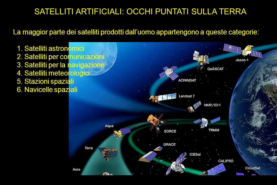 SATELLITI ARTIFICIALI: OCCHI PUNTATI SULLA TERRA La maggior parte dei satelliti prodotti dalluomo appartengono a queste categorie: 1. Satelliti astron