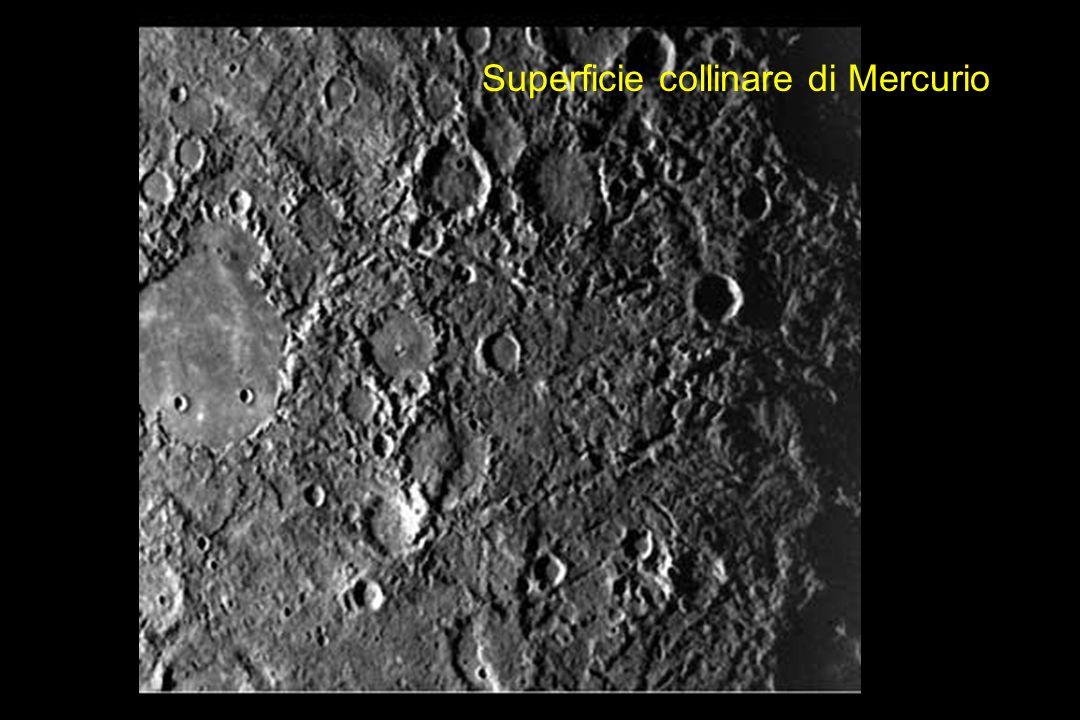 La superficie di Mercurio è simile a quella della Luna: numerosi crateri da impatto sono stati riempiti da lava vulcanica nel corso della sua storia geologica.