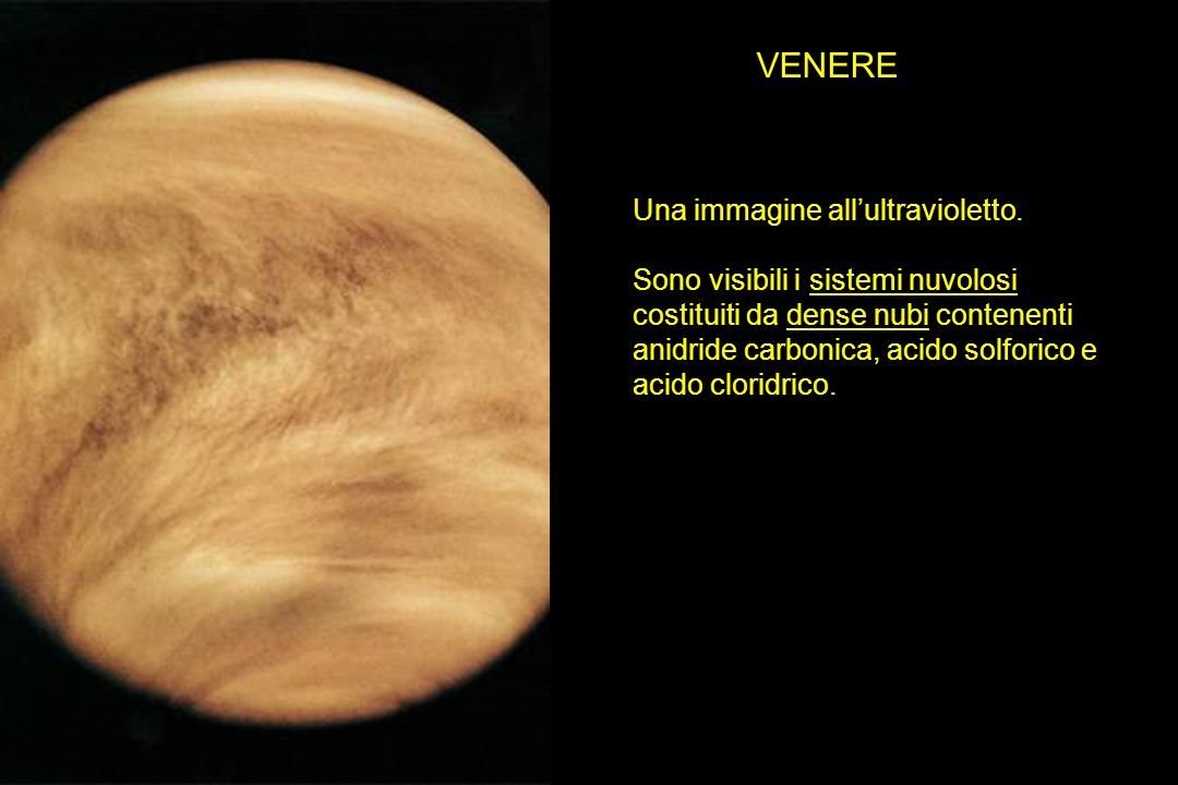 VENERE Una immagine allultravioletto. Sono visibili i sistemi nuvolosi costituiti da dense nubi contenenti anidride carbonica, acido solforico e acido