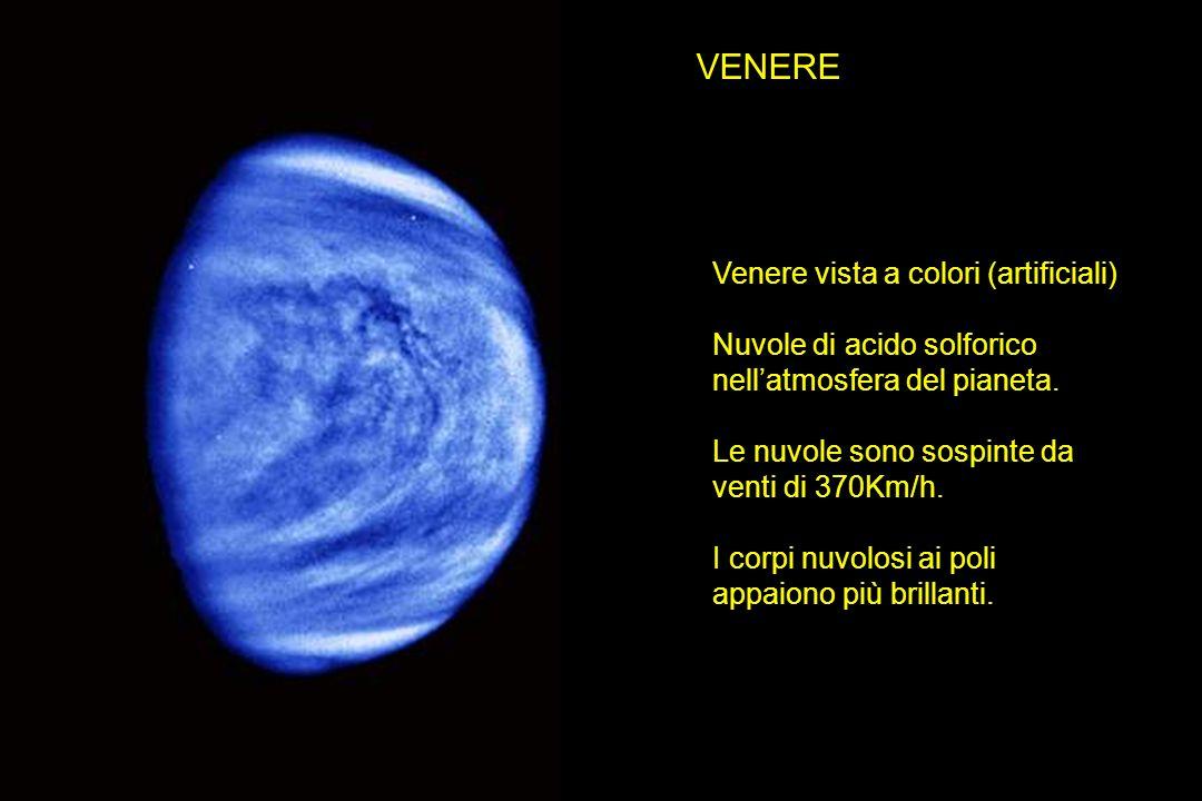 VENERE Venere vista a colori (artificiali) Nuvole di acido solforico nellatmosfera del pianeta. Le nuvole sono sospinte da venti di 370Km/h. I corpi n