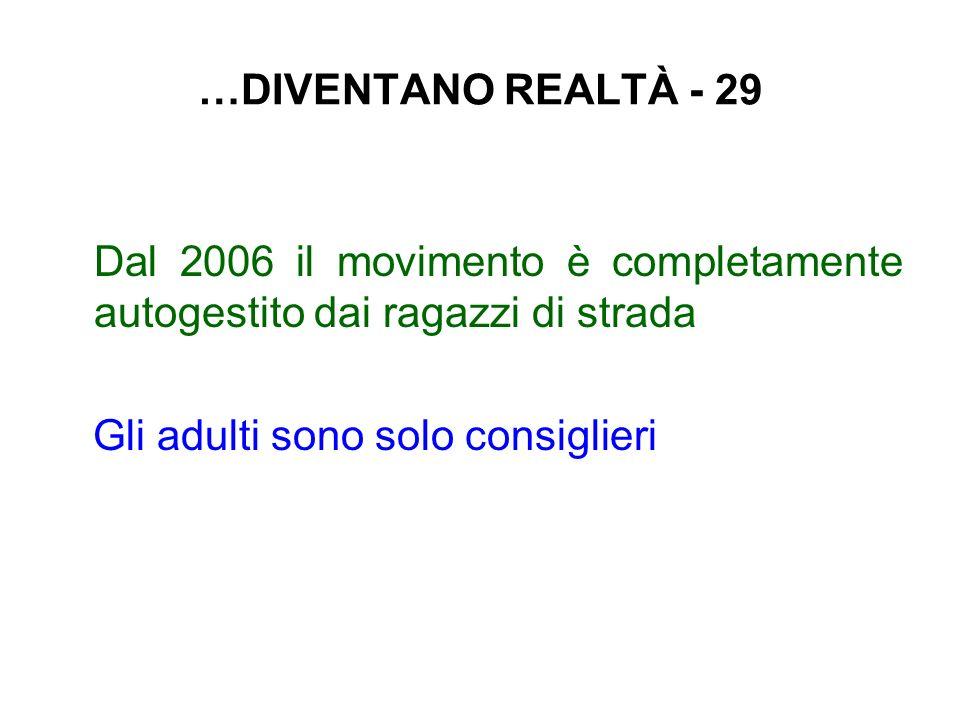 …DIVENTANO REALTÀ - 29 Dal 2006 il movimento è completamente autogestito dai ragazzi di strada Gli adulti sono solo consiglieri