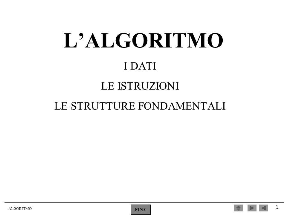 ALGORITMO 1 LALGORITMO I DATI LE ISTRUZIONI LE STRUTTURE FONDAMENTALI FINE