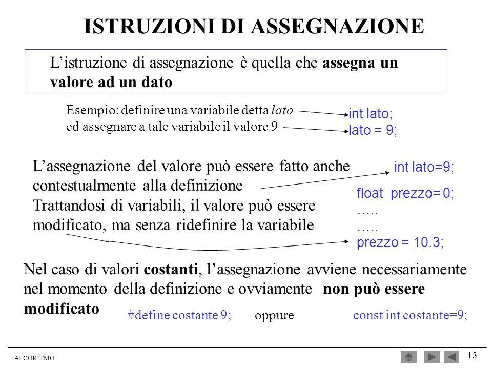 ALGORITMO 13 ISTRUZIONI DI ASSEGNAZIONE Listruzione di assegnazione è quella che assegna un valore ad un dato Esempio: definire una variabile detta la