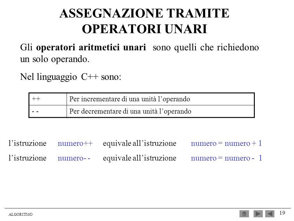 ALGORITMO 19 ASSEGNAZIONE TRAMITE OPERATORI UNARI Gli operatori aritmetici unari sono quelli che richiedono un solo operando. Nel linguaggio C++ sono: