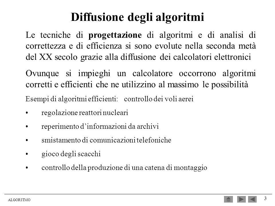 ALGORITMO 3 Diffusione degli algoritmi Le tecniche di progettazione di algoritmi e di analisi di correttezza e di efficienza si sono evolute nella sec