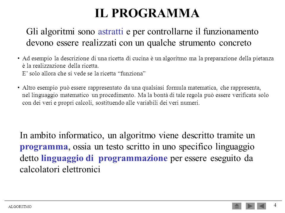 ALGORITMO 4 IL PROGRAMMA In ambito informatico, un algoritmo viene descritto tramite un programma, ossia un testo scritto in uno specifico linguaggio