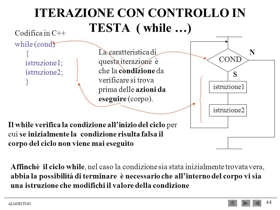 ALGORITMO 44 ITERAZIONE CON CONTROLLO IN TESTA ( while …) Codifica in C++ while (cond) { istruzione1; istruzione2; } La caratteristica di questa itera
