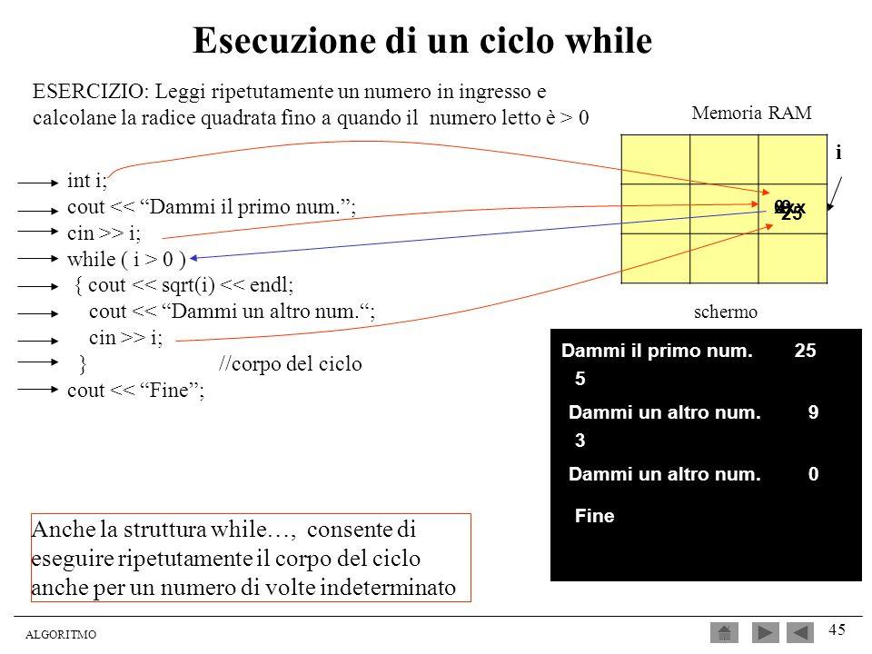 ALGORITMO 45 Esecuzione di un ciclo while ESERCIZIO: Leggi ripetutamente un numero in ingresso e calcolane la radice quadrata fino a quando il numero