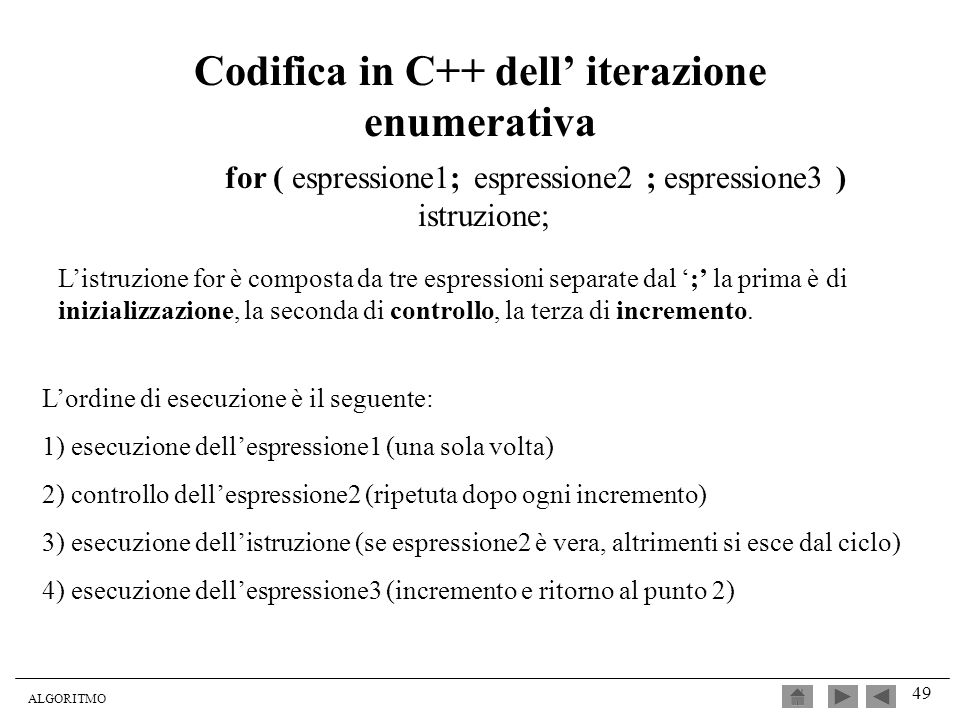 ALGORITMO 49 Codifica in C++ dell iterazione enumerativa for ( espressione1; espressione2 ; espressione3 ) istruzione; Listruzione for è composta da t