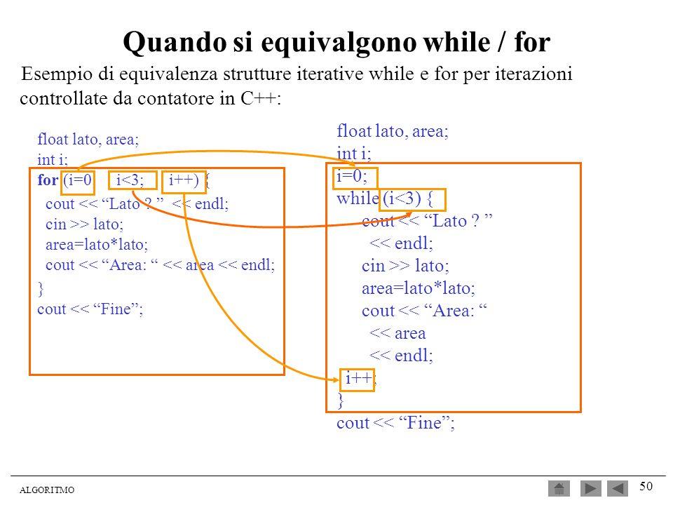 ALGORITMO 50 Quando si equivalgono while / for float lato, area; int i; for (i=0; i<3; i++) { cout > lato; area=lato*lato; cout << Area: << area << en