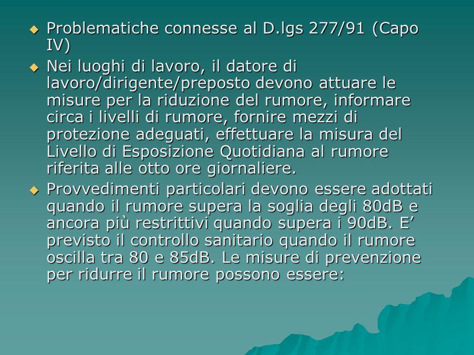 Problematiche connesse al D.lgs 277/91 (Capo IV) Problematiche connesse al D.lgs 277/91 (Capo IV) Nei luoghi di lavoro, il datore di lavoro/dirigente/