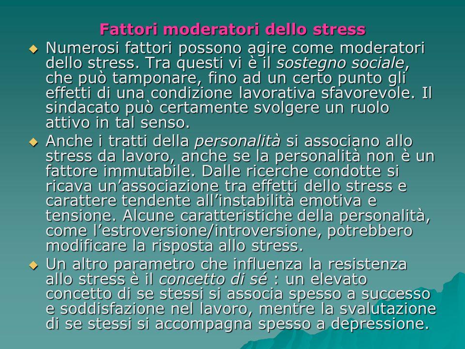 Fattori moderatori dello stress Numerosi fattori possono agire come moderatori dello stress. Tra questi vi è il sostegno sociale, che può tamponare, f