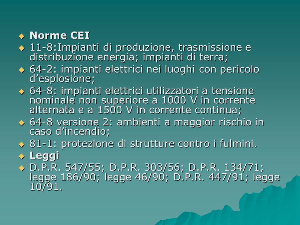 Norme CEI Norme CEI 11-8:Impianti di produzione, trasmissione e distribuzione energia; impianti di terra; 11-8:Impianti di produzione, trasmissione e