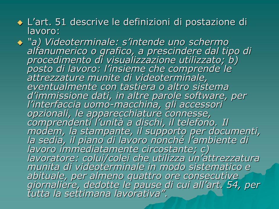 Lart. 51 descrive le definizioni di postazione di lavoro: Lart. 51 descrive le definizioni di postazione di lavoro: a) Videoterminale: sintende uno sc