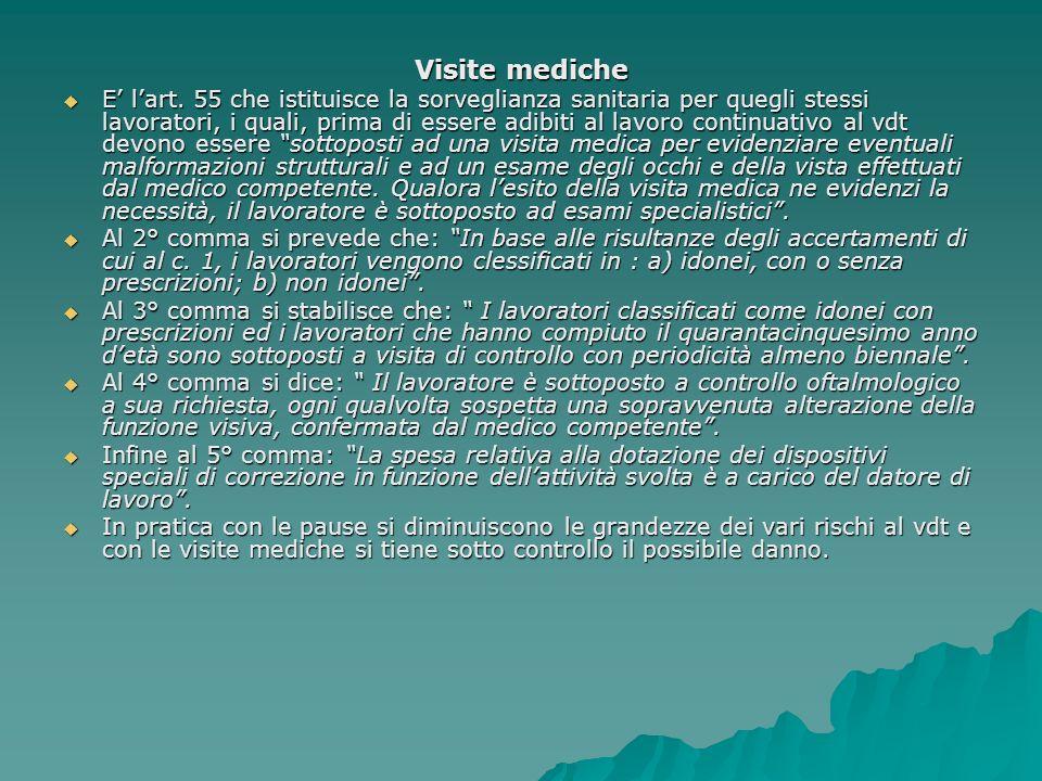 Visite mediche E lart. 55 che istituisce la sorveglianza sanitaria per quegli stessi lavoratori, i quali, prima di essere adibiti al lavoro continuati