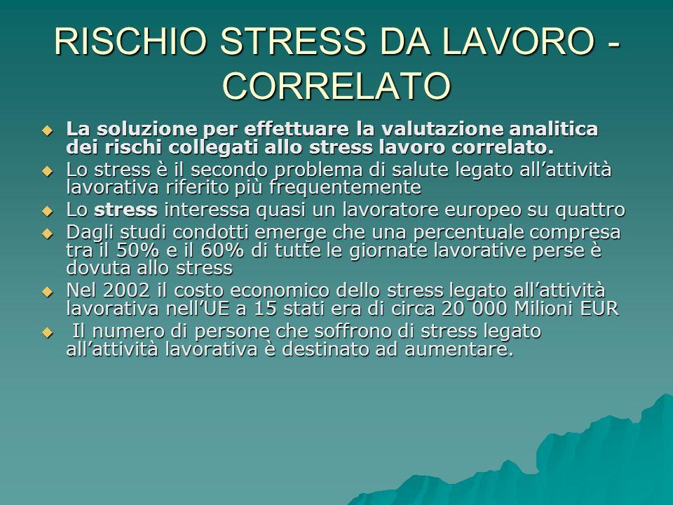 RISCHIO STRESS DA LAVORO - CORRELATO La soluzione per effettuare la valutazione analitica dei rischi collegati allo stress lavoro correlato. La soluzi