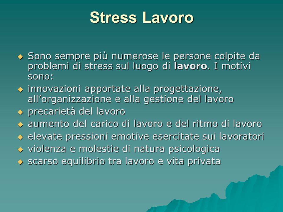 Stress Lavoro Sono sempre più numerose le persone colpite da problemi di stress sul luogo di lavoro. I motivi sono: Sono sempre più numerose le person