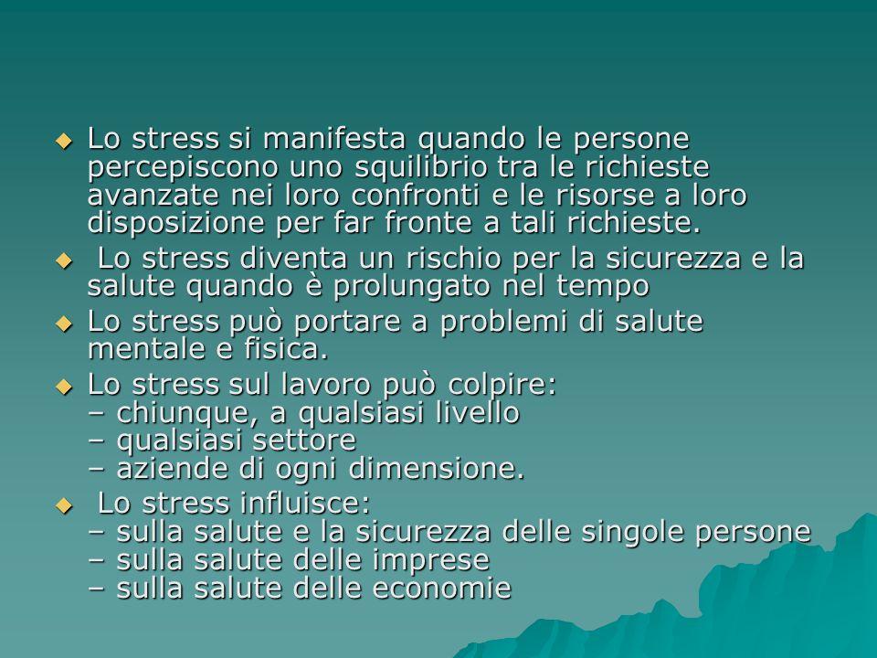 Lo stress si manifesta quando le persone percepiscono uno squilibrio tra le richieste avanzate nei loro confronti e le risorse a loro disposizione per